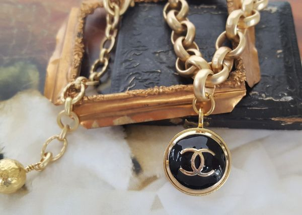 upcycled CHANEL Button Necklace, Black/Gold