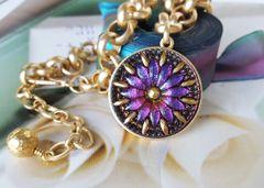 Czech Glass Necklace, Ultra-Violet