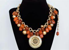 ORA - Orange Beaded Bib Necklace