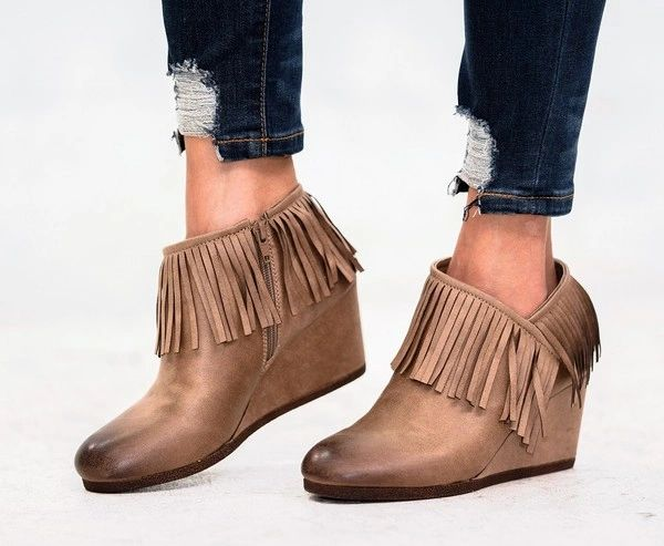 a546bb716f6 Rustic Fringe Wedge Booties TAUPE   SOLD OUT