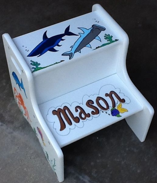 The painted robin personalized baby gifts step stool baby gifts sharksea life step stool negle Choice Image