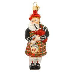 Glass Santa Piping Ornament
