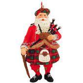 Santa Bagpiper Ornament