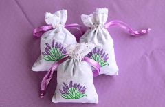 Embroidered Cotton Sachet with Lace