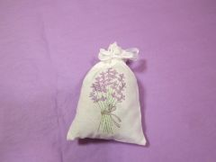 Large Cotton, Lavender-Embroidered Sachet
