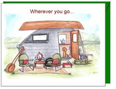 Father's Day - Brown Canoe Camper Greeting Card