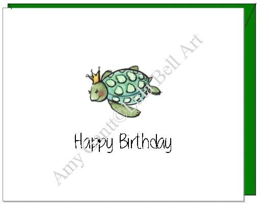 Birthday Ocean Turtle Greeting Card Lula Bell Art And Designs