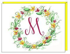 A Monogram - Spring Wreath Boxed Note Cards