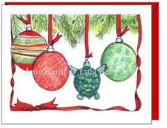 Christmas - Blue Turtle X-mas Greeting Card