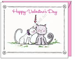 Valentine - Kissing Kitties Greeting Card