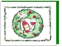 Christmas - Holiday Wine Greeting Card