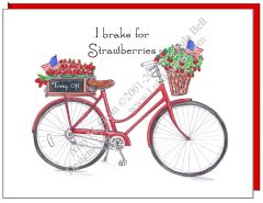 Bike - I brake for Strawberries - Red Bike Boxed Note Cards