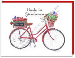 Bike - I brake for Strawberries - Red Bike Boxed Note Cards