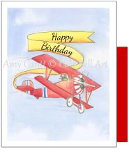 Birthday - Birthday Biplane Greeting Card