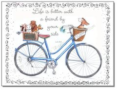 Dogs riding a Blue Bike Note Cards