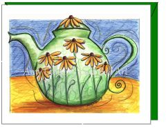 Thinking of You - Daisy Teapot Greeting Card