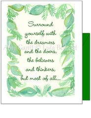 Encouragement - Green Leaf Boarder Greeting Card