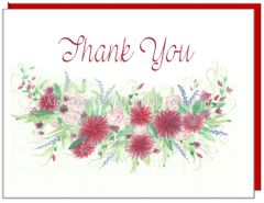 Thank You Red Dahlias Note Cards