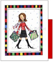 Christmas - Shopping Boots Greeting Card