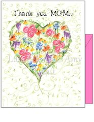 Mother's Day - Thank You MOM - Heart of Flowers Greeting Card