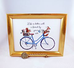5 X 7 Framed Print - Blue Bike with Dogs