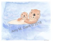 Otter Mom With Child Note Cards