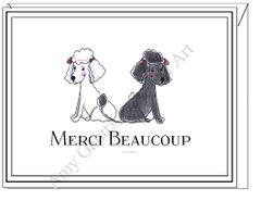 Thank You - Merci Beaucoup Poodles Boxed Note Cards