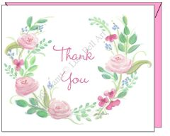 Pink Rose Wreath Thank You Note Cards