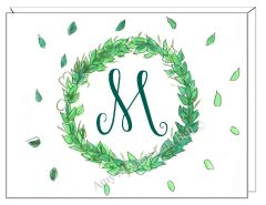 A Monogram - Green Wreath Boxed Note Cards