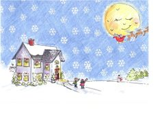 Art Print - Christmas Eve Snow Watercolor