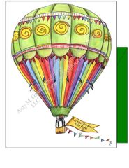 Hot Air Balloon Green Boxed Note Cards