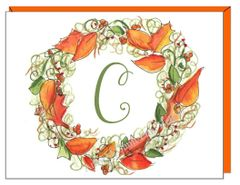 Single Initial - Fall Wreath Boxed Note Cards