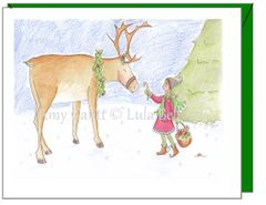 Christmas - A Day With My Reindeer Greeting Card