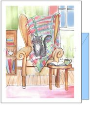 Thinking of You - Cat on Tapastry Greeting Card