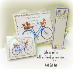 "Gift Set - ""Life is better with a friend by your side"" Blue Bike and Dogs Gift Set"