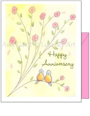 Anniversary - Love Birds Greeting Card