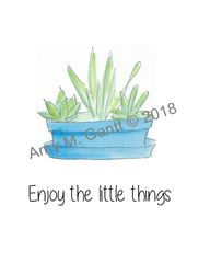 Succulent Trio in a Blue Bowl Note Cards