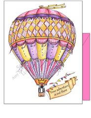 "Hot Air Balloon Pink ~""Your adventure is out there"" Boxed Note Cards"