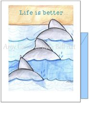 Frienship - Beach Dolphins Greeting Card