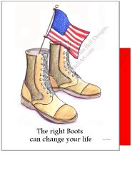 """The right boots can change your life"" Military Boot Boxed Note Cards"