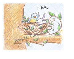 Bunny and Bird in Tree Note Cards
