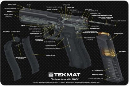 Glock 17 9mm Pistol 3d Cut Away Tekmat Colour Schematic