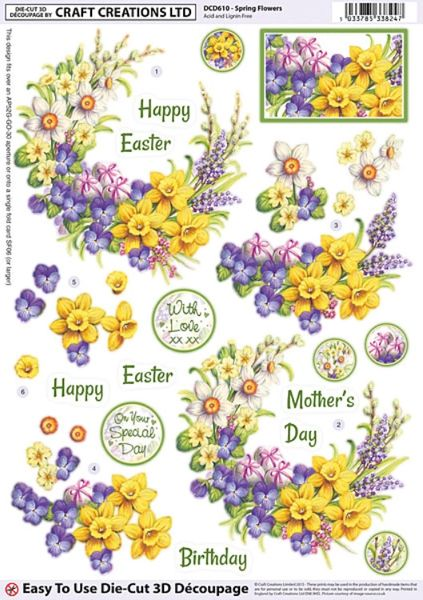 Craft Creations Die Cut Decoupage Pop Out Sheet Spring Flowers
