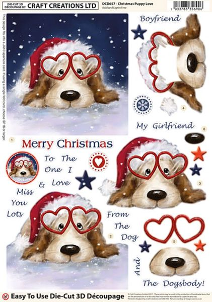 Craft Creations Die Cut Decoupage Pop Out Sheet Christmas Puppy