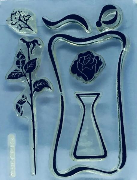 Stampendous Perfectly Clear Cling Stamp Set Rosebud Vase
