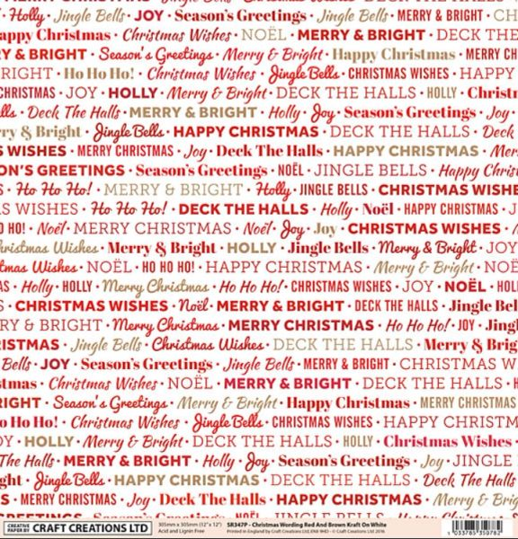 craft creations uk 12 x 12 paper christmas words red kraft on white