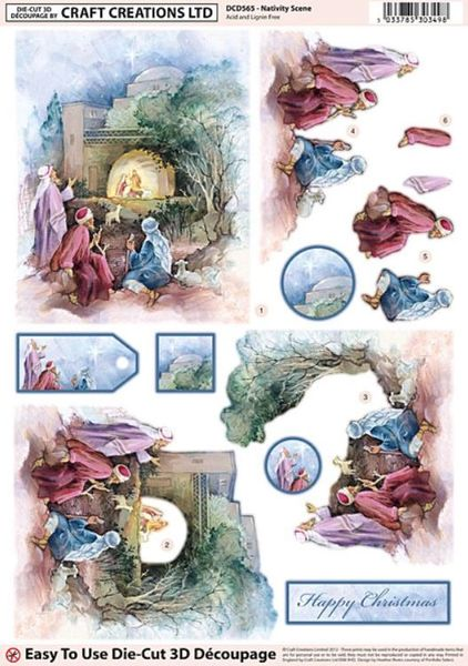 Craft Creations Die Cut Decoupage Pop Out Sheet Nativity Scene