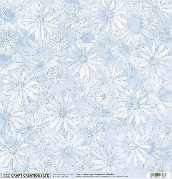Craft Creations Uk 12 X 12 Paper Blue Flowers With Silver Foil