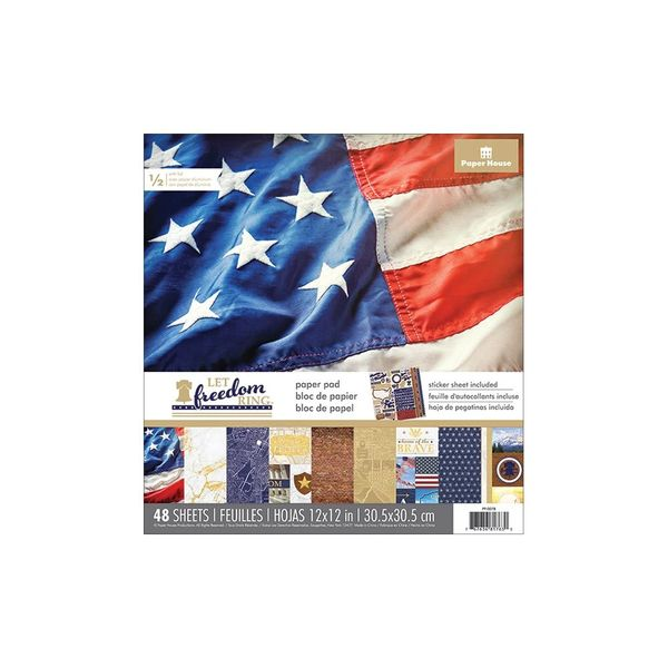 Paper House Double Sided Paper Pad Let Freedom Ring 12x12 48pkg