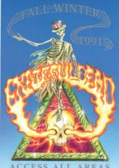 Grateful Dead backstage pass - Flaming Skull postcard